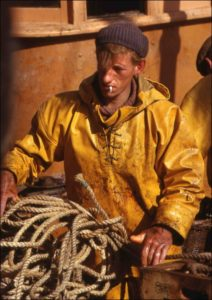 Picture of a trawlerman at work