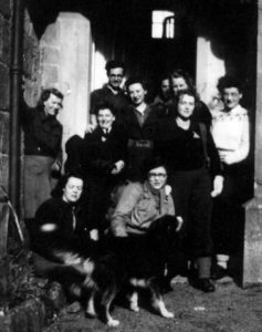 A photograph of Meg and group youth hostelling