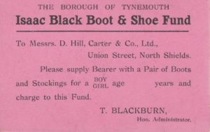 Entitlement certificate for the Poor Children's Boot & Shoe Fund, dated 1941
